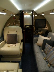 Interior view of luxury Falcon by Toronto's SwiftJet private jet charter company