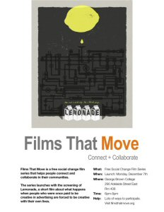 poster for Films That Move, a free social change film series launching December 7th in Toronto