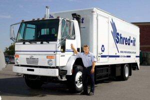 Shred-it employee with shredding truck.