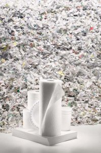 Products made from shredded and recycled paper.