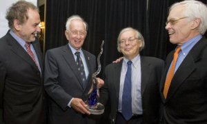 Celebrating the exceptional contribution of Mr. Stephen A. Jarislowsky as one of the best portfolio manager in Quebec and Canada. From left to right: Mr. Michel Nadeau (Executive Director Institute for Governance of Private and Public Organizations) , Mr. Stephen A. Jarislowsky (Chairman of the Board of Directors, Jarislowsky Fraser Limited), Mr. Yvan Allaire (Chairman of the Board of Directors, Institute for Governance of Private and Public Organizations), Mr. Claude Lamoureux (former president and CEO of the Ontario Teachers' Pension Plan)