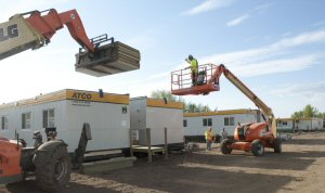Work is under way at the ATCO camp in Slave Lake, Alberta to accommodate ATCO workers who are restoring natural gas and electrical services to the area.