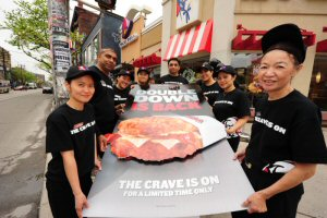 KFC Canada employees prepare for the return of Double Down - KFC's famous bun-less sandwich - to Canada.