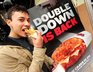 Gabriel Rojas Hruska was one of the first in line to try the KFC Canada Double Down upon its return to Canada. The epic bunless sandwich returns to Canada on June 1st, 2011.
