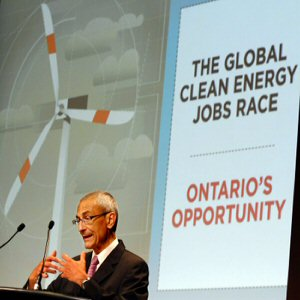 John Podesta, former Chief of Staff to U.S. President Clinton and President and CEO for Center for American Progress urged Ontario to not be left behind in the global clean energy race at an event in Toronto on July 13, 2011.  THE CANADIAN PRESS IMAGES/J.P. Moczulski