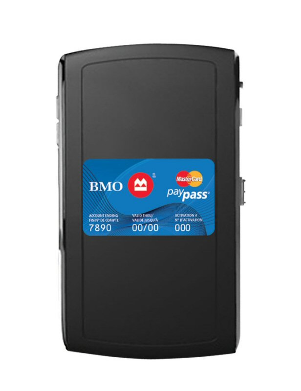 Bmo first major canadian bank to roll out tap and go payment the mobile paypass tag allows bmo personal credit card customers to make purchases through a sticker affixed to their mobile phone reheart Image collections