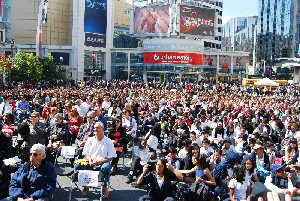 Thousands of students and their teachers from across the GTA attended Freedom Day hosted by Friends of Simon Wiesenthal Center for Holocaust Studies at Yonge Dundas Square in Toronto September 20, 2011.