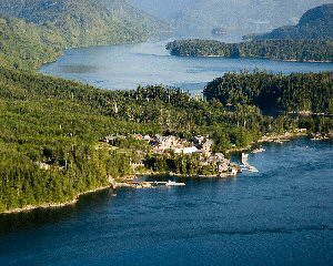 Aerial view of Sonora Resort in British Columbia, Canada.