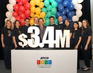 ATCO Group President & CEO, Nancy Southern (centre), celebrates with employees, Wednesday, February 8, 2012, in Calgary, after raising more than $3.4 million for charity.  MARKETWIRE PHOTO/ATCO Ltd.