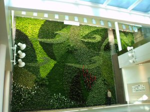The 3-story high central living wall took inspiration from high altitude cloud formations.