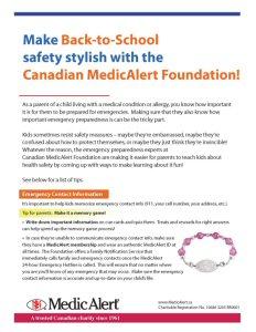 Canadian MedicAlert Foundation Back-to-School Safety Tips