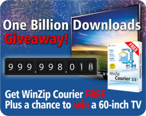 WinZip Celebrates with the Countdown to 1 Billion Downloads Giveaway
