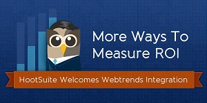 The integration between HootSuite Enterprise and Webtrends On-Demand connects social media messages to website conversions and stats, resulting in a detailed breakdown of the impact social has on organizational and departmental objectives.