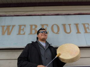 Eric Shewaybick  prepares Old Man Bear Drummers and the youth for Saturday night's showcase in Webequie