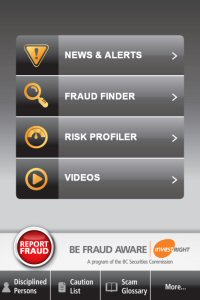 Home Page on the Be Fraud Aware iPhone application