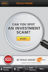Fraud Finder on the Be Fraud Aware iPhone application