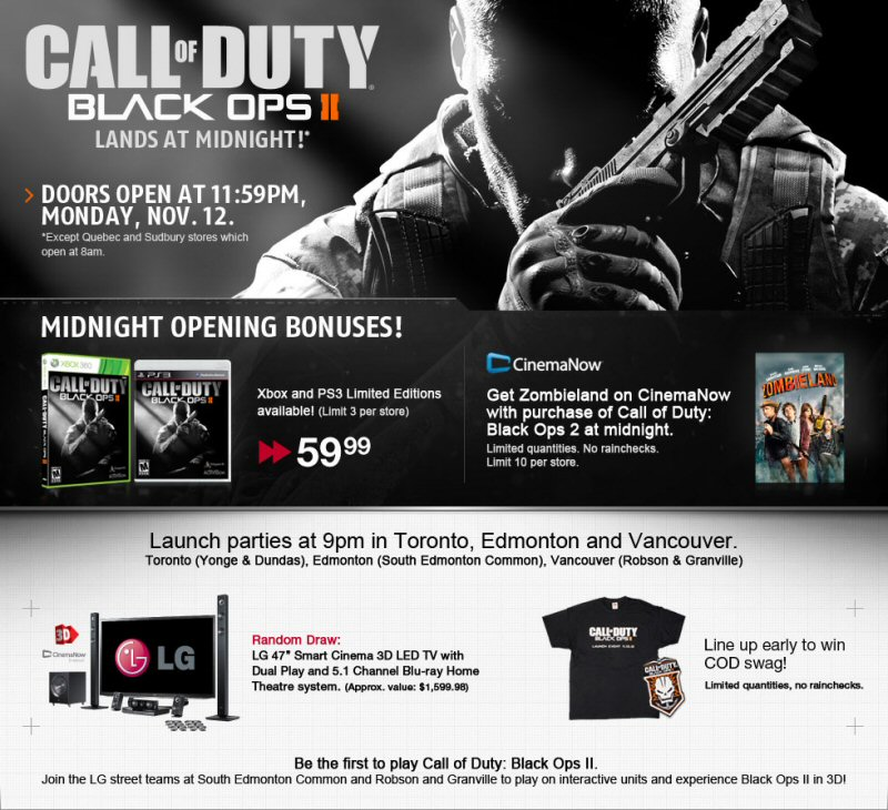 future shop opening all stores early for release of call of duty black ops ii. Black Bedroom Furniture Sets. Home Design Ideas