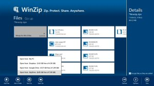 The new WinZip for Windows 8 adds support for Dropbox, Google Drive and SkyDrive.