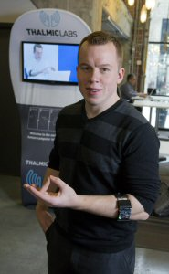 Thalmic Labs Co-Founder & CEO Stephen Lake shows off a prototype of MYO, the company's new wearable gesture control device, Friday, February 22, 2013, in Kitchener-Waterloo.  (The Canadian Press Images PHOTO/Thalmic Labs Inc.)