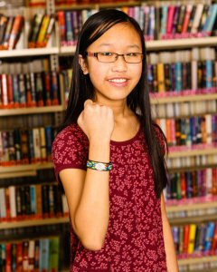 Antonia Sinn shows off the MedicAlert sports band that she designed. Photo: Canadian MedicAlert Foundation
