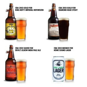 Howe Sound Brewery Co. medal winners for the 2013 Canadian Brewing Awards