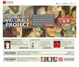 Valuableproject.ca allows users to 'donate' their social feed in one easy step