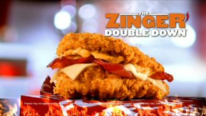 The KFC Canada Zinger Double Down features two premium seasoned chicken breasts, marinated to perfection in KFC's signature hot and spicy seasoning.