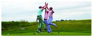 Members having fun at the Annual Charity Golf Tournament.