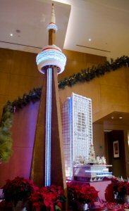 Toronto's tallest gingerbread display returns to The Ritz-Carlton, Toronto on Wednesday, December 4, 2013.  The giant 17-foot replica of the CN Tower took over 500 hours to create and is the work of the hotel's pastry and engineering teams.  The Canadian Press Images PHOTO/The Ritz-Carlton, Toronto