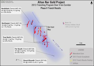 Altan Nar Gold Project (2013 Trenching Program Over 5km Corridor)
