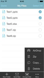 New sharing options include integrated support for AirDrop making it easy to share files with other iOS users.