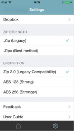WinZip for iOS connects directly to your Dropbox account to zip, unzip and share files. Protect your files before you save and share with WinZip's powerful 128- or 256-bit AES encryption.
