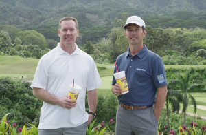 Mike Weir with Dale Wishewan, President and CEO of Booster Juice