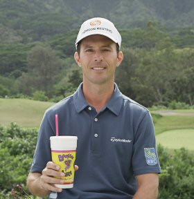 Mike Weir with a Booster Juice Smoothie