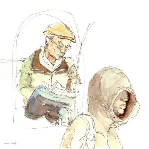 Sketch of Berlin commuters by Conor Coady, one of the 13 artists in 'Sketching the Line', appearing on Pattison Onestop screens in Toronto, Edmonton and Calgary this March.