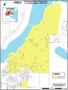 Map illustrating area of planned outage in Penetanguishene