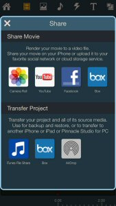Share directly to YouTube, Facebook and Box or export projects to Pinnacle Studio on your iPad or Windows