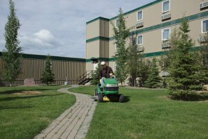 Grounds keeping is part of the newly awarded facilities and operations maintenance contract.