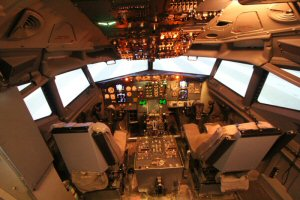 Inside the cockpit of the simulator