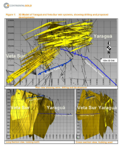 Figure 1: 3D Model of Yaraguá and Veta Sur vein systems, showing drilling and proposed developments