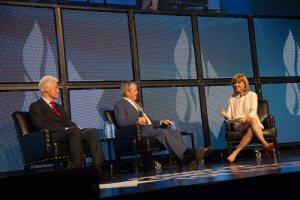 (L-R): President Bill Clinton, President George W. Bush & Heather Reisman