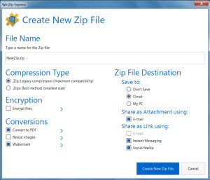 WinZip introduces the new WinZip Express for Office, giving direct access to most-used WinZip sharing features without having to leave Office