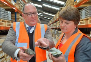"""Arlene Foster, Northern Ireland""""s Enterprise, Trade and Investment Minister and Patrick F.N. Anderson, Dalradian's CEO, viewing core from the Curraghinalt gold project (Marketwired Photo - Dalradian Resources Inc.)"""