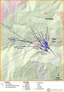 Figure 1 - Plan View of highlights of new drilling, showing the surface projection of veins in the current (2014) Veta Sur and Yaraguá mineral resource models on geology-topography. Line A-B refers to the section line for Figures 2.
