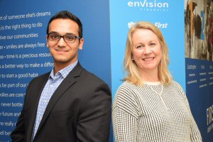 Richmond's Akaash Bali, CEO X 1 Day finalist (left), with First West Credit Union CEO Launi Skinner