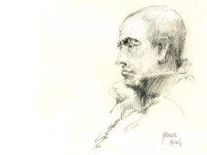 """Artwork Credit: Marek Badzynski, """"Sketching on Yonge line, between Bloor and Sheppard."""""""