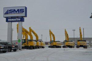Komatsu machines lined up at the Winnipeg branch