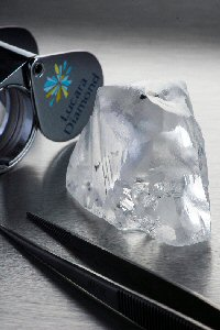 The 341.9 carats diamond recovered from the Karowe mine in April 2015.