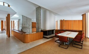 The Integral House's dining room with custom built table overlooks the concert hall Photo by Philip Castleton