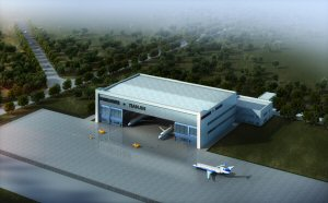 Rendering of maintenance facility in Tianjin, China to be operated by Bombardier and Tianjin Airport Economic Area. The facility is set to open in 2017.